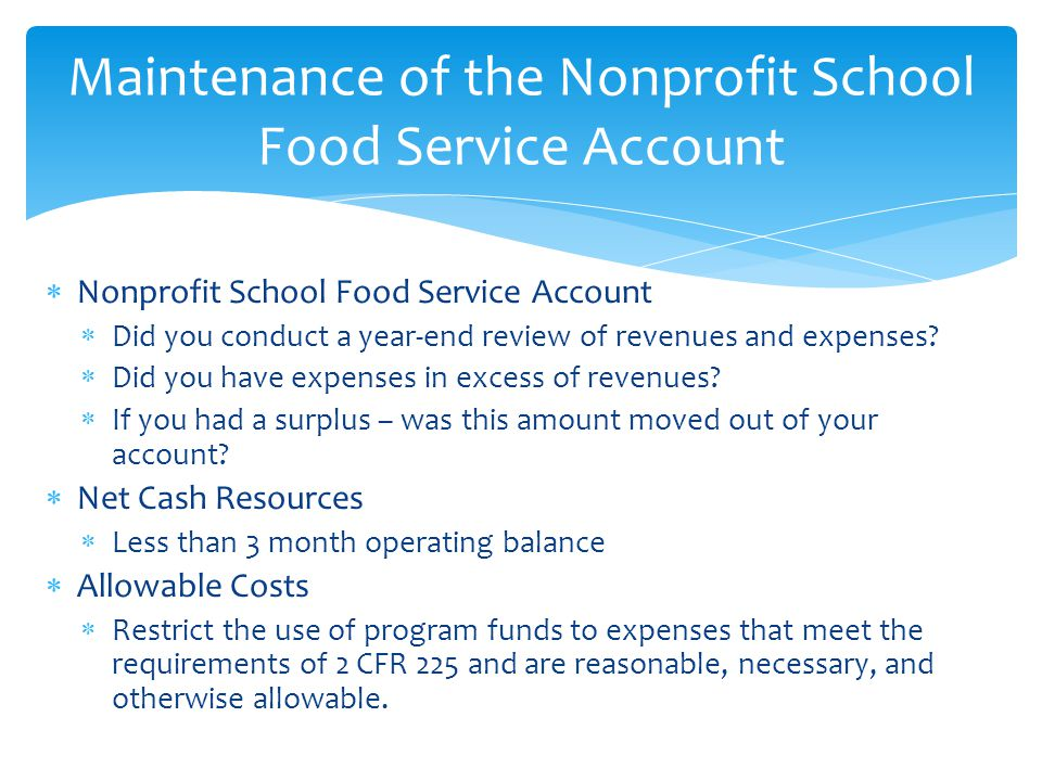Maintenance of the Nonprofit School Food Service Account