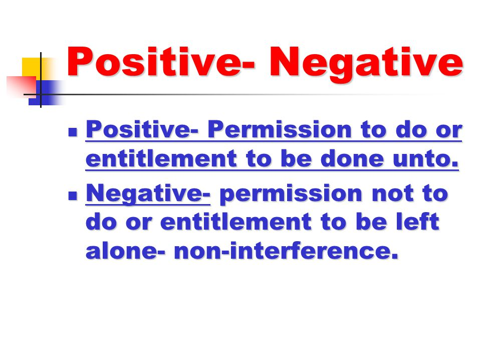 Positive- Negative Positive- Permission to do or entitlement to be done unto.