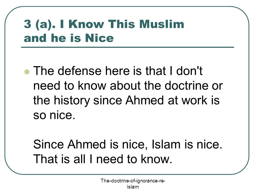 3 (a). I Know This Muslim and he is Nice