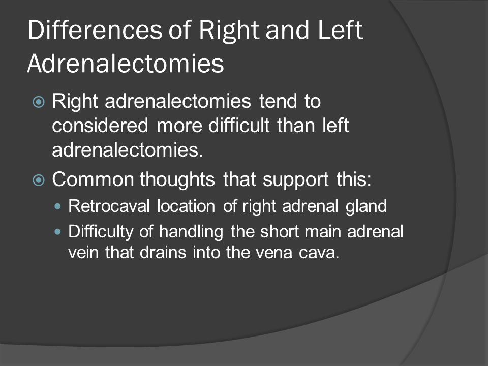 Differences of Right and Left Adrenalectomies