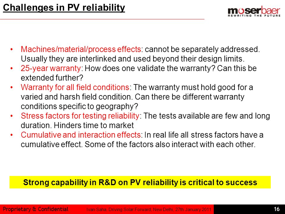 Challenges in PV reliability