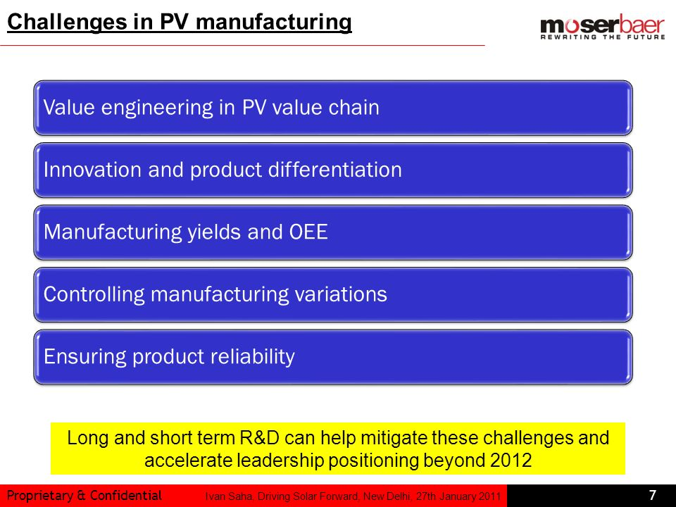 Challenges in PV manufacturing Value engineering in PV value chain