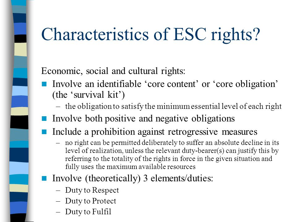 Characteristics of ESC rights