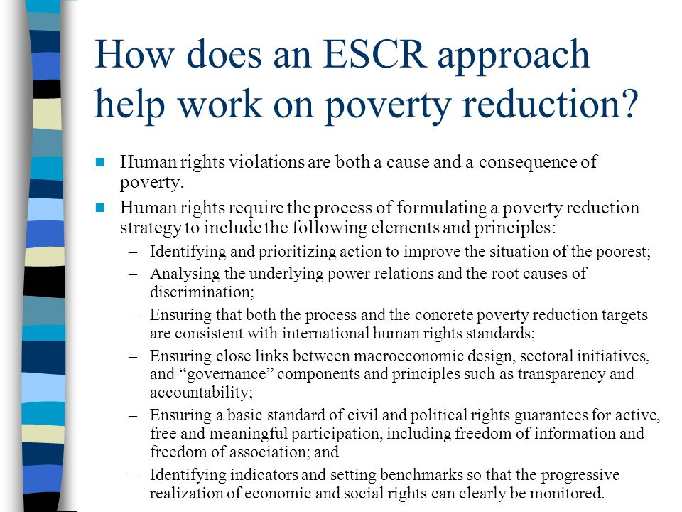 How does an ESCR approach help work on poverty reduction