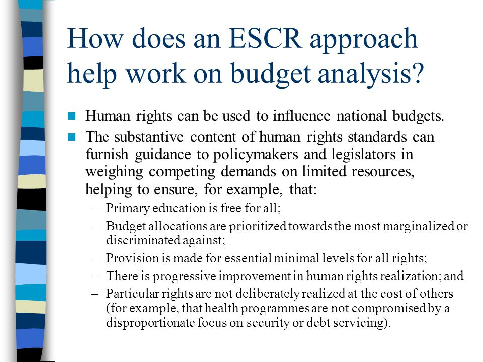 How does an ESCR approach help work on budget analysis