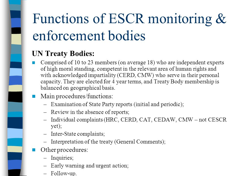 Functions of ESCR monitoring & enforcement bodies