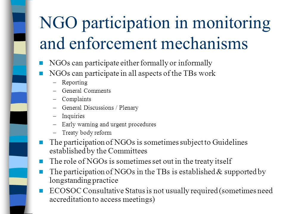 NGO participation in monitoring and enforcement mechanisms