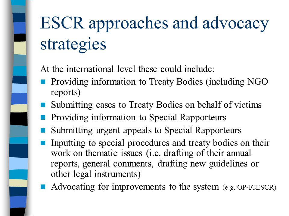 ESCR approaches and advocacy strategies