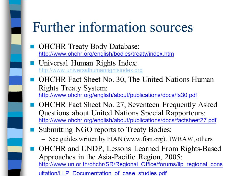 Further information sources