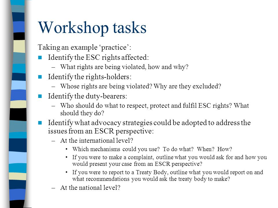 Workshop tasks Taking an example 'practice':