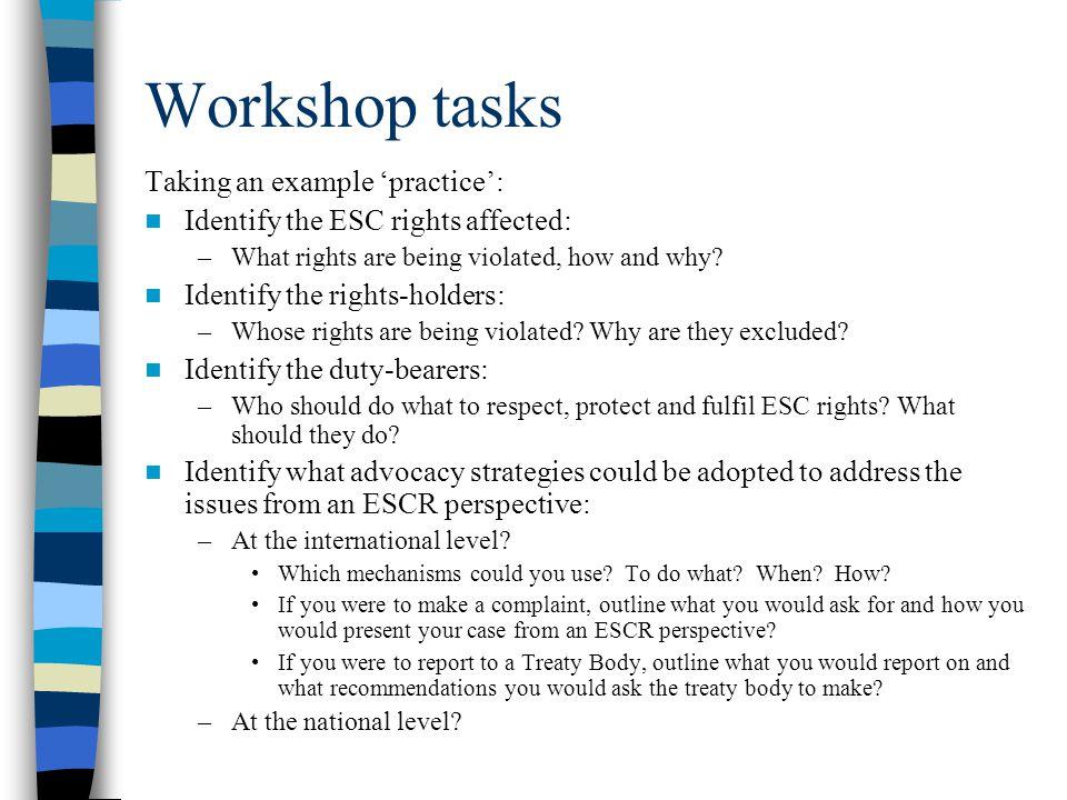 Workshop tasks Taking an example 'practice':