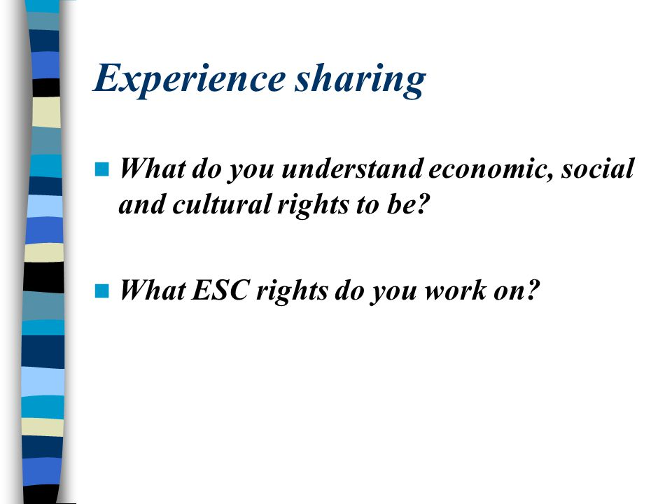Experience sharing What do you understand economic, social and cultural rights to be.