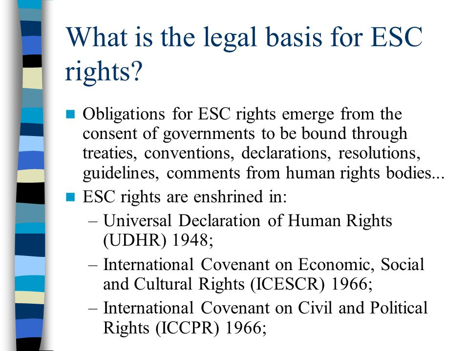 What is the legal basis for ESC rights