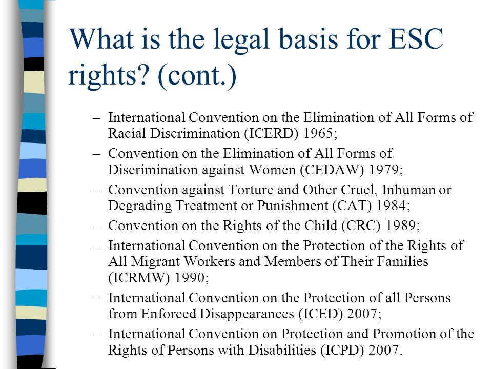 What is the legal basis for ESC rights (cont.)