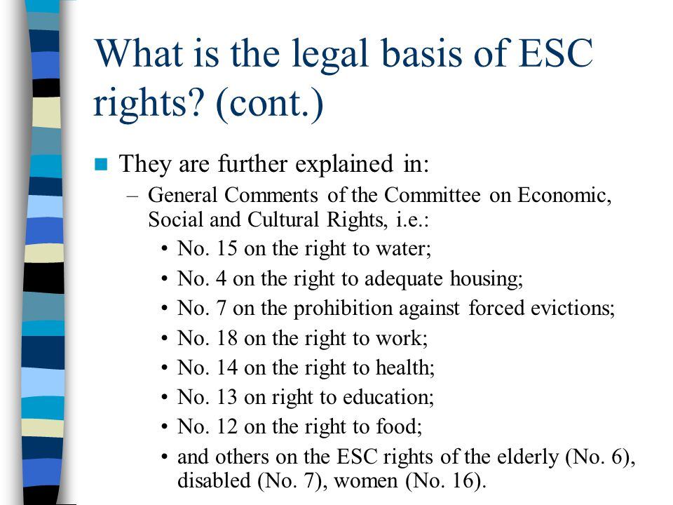 What is the legal basis of ESC rights (cont.)