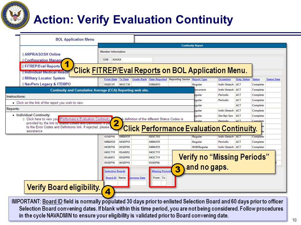 Action: Verify Evaluation Continuity