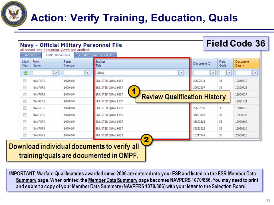 Action: Verify Training, Education, Quals