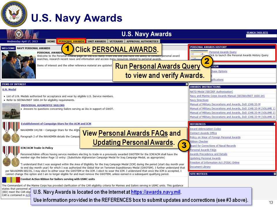 U.S. Navy Awards 1 Click PERSONAL AWARDS. 2