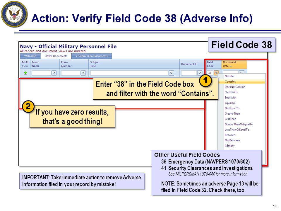 Action: Verify Field Code 38 (Adverse Info)