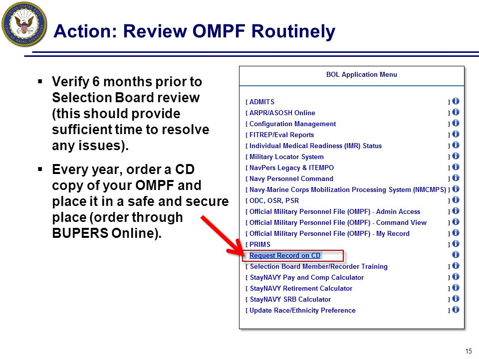 Action: Review OMPF Routinely