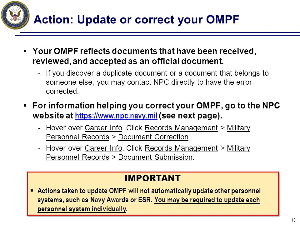 Action: Update or correct your OMPF