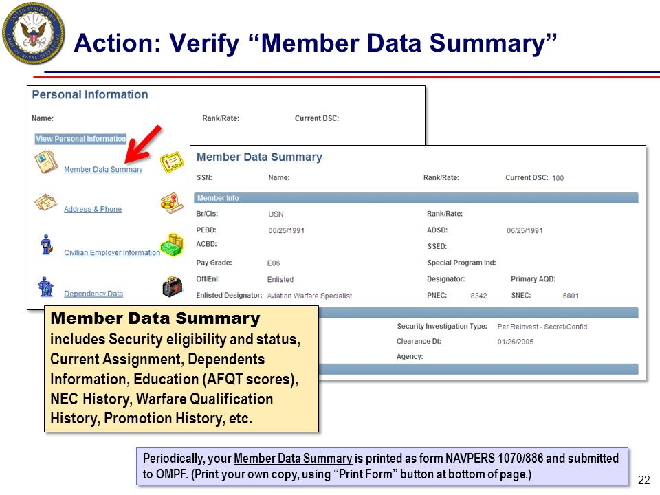 Action: Verify Member Data Summary