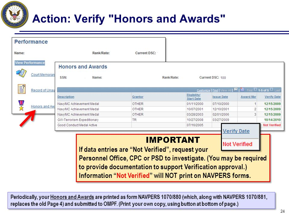 Action: Verify Honors and Awards