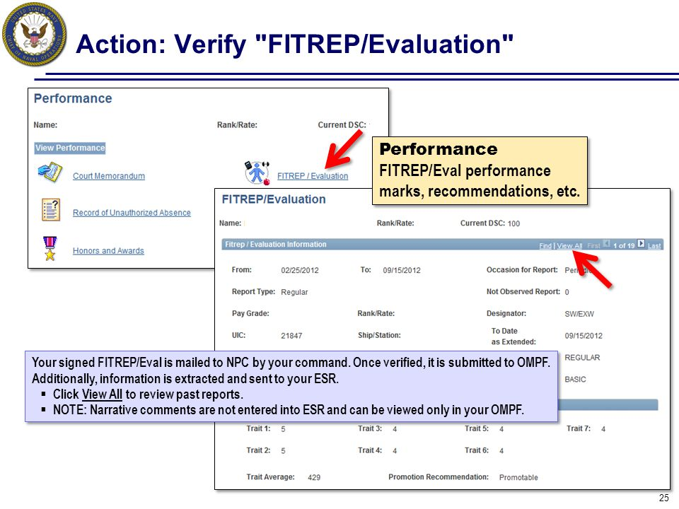 Action: Verify FITREP/Evaluation