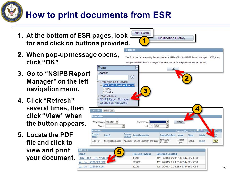 How to print documents from ESR