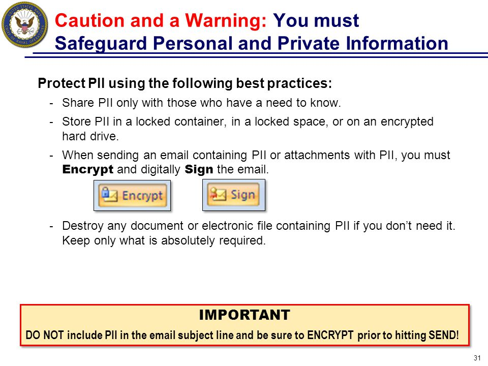Caution and a Warning: You must Safeguard Personal and Private Information