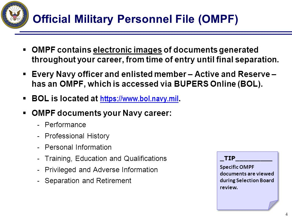 Official Military Personnel File (OMPF)