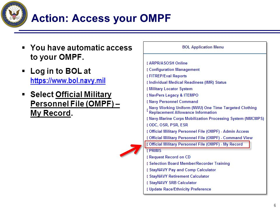 Action: Access your OMPF