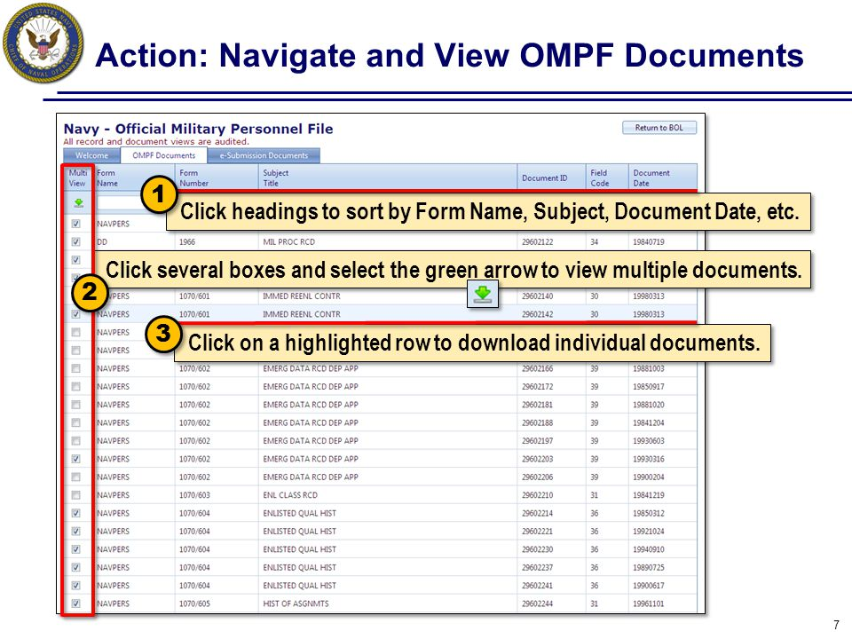 Action: Navigate and View OMPF Documents
