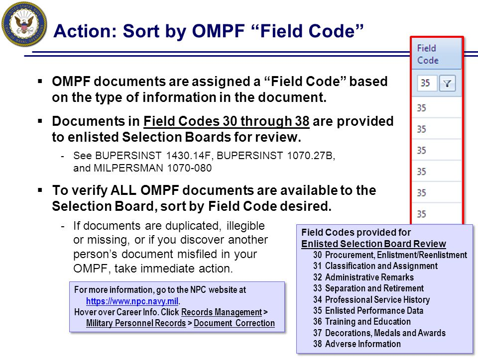 Action: Sort by OMPF Field Code