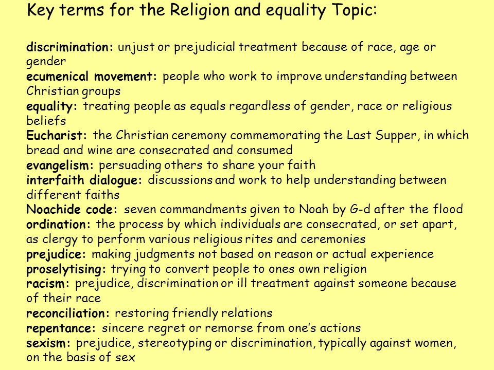 Key terms for the Religion and equality Topic: