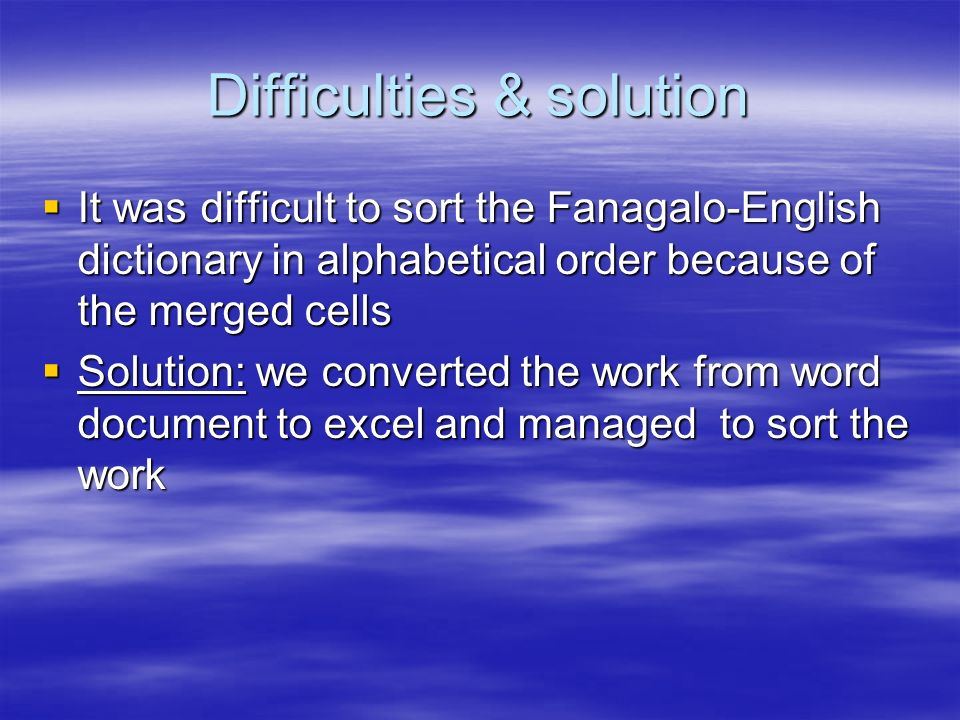 Difficulties & solution