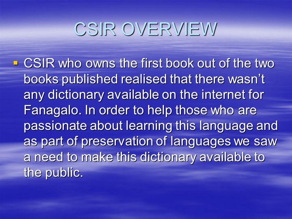CSIR OVERVIEW