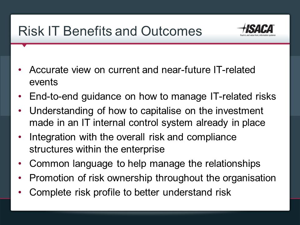 Risk IT Benefits and Outcomes