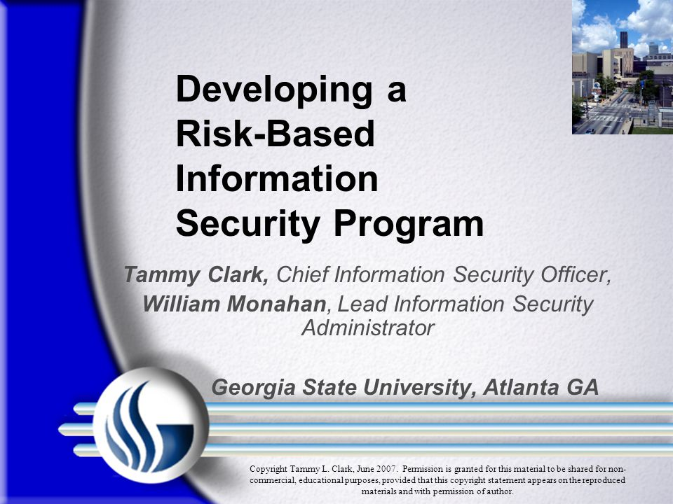 Developing a Risk-Based Information Security Program