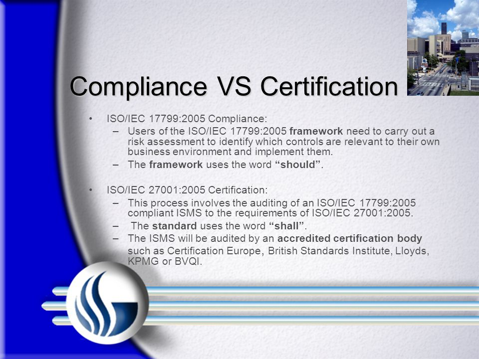 Compliance VS Certification