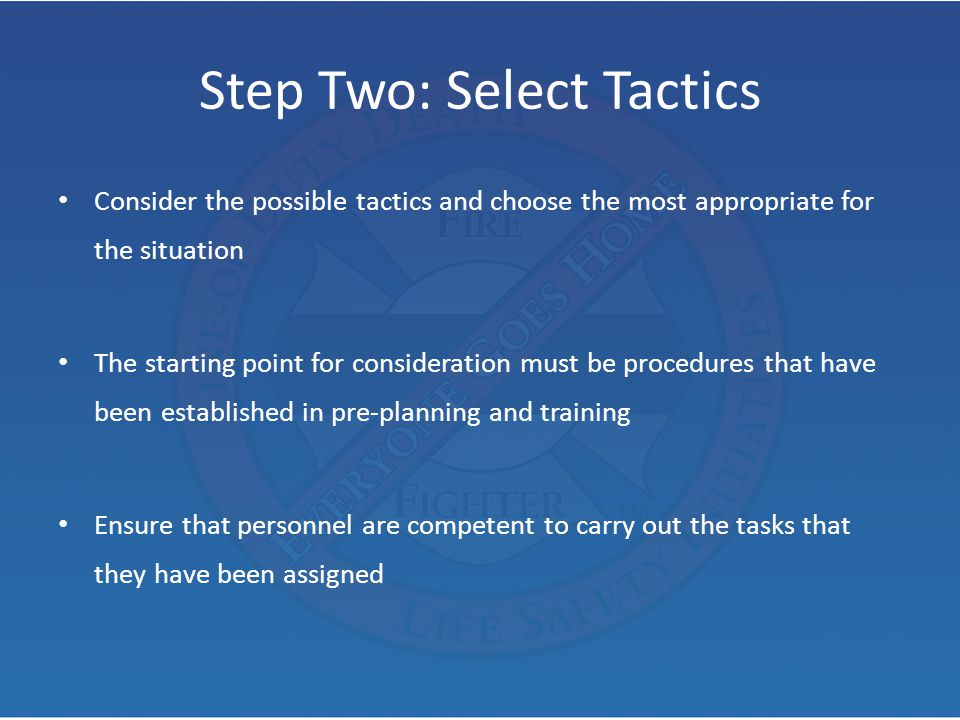Step Two: Select Tactics