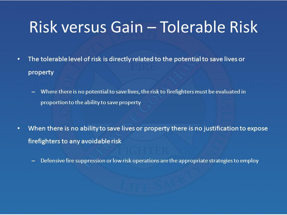Risk versus Gain – Tolerable Risk