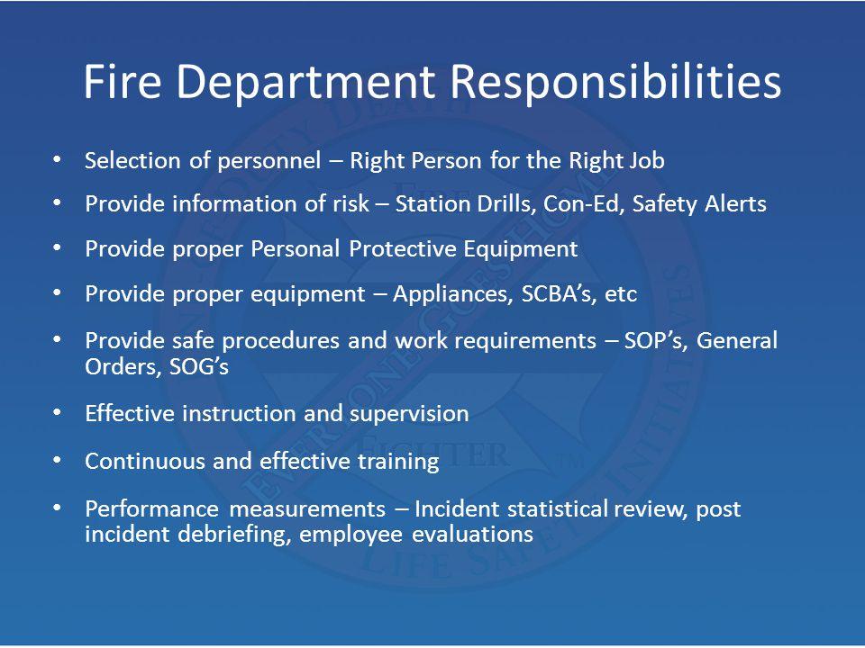 Fire Department Responsibilities