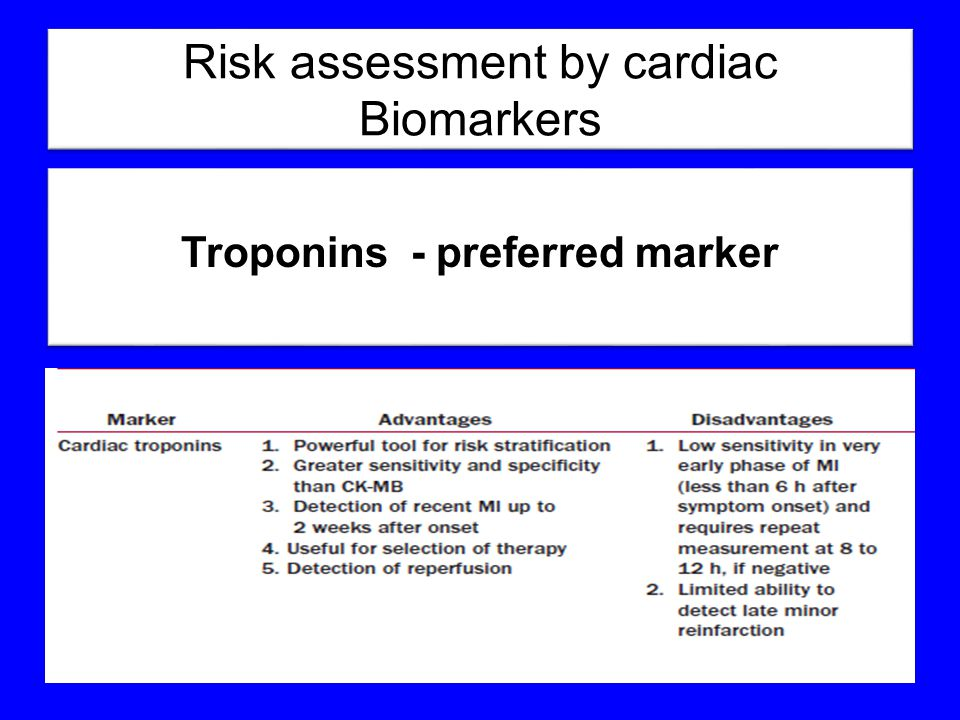 Risk assessment by cardiac Biomarkers