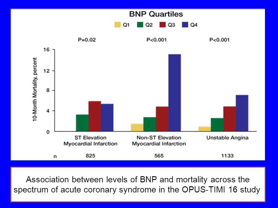 Association between levels of BNP and mortality across the spectrum of acute coronary syndrome in the OPUS-TIMI 16 study.