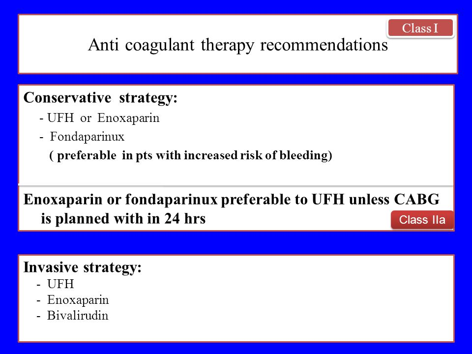 Anti coagulant therapy recommendations