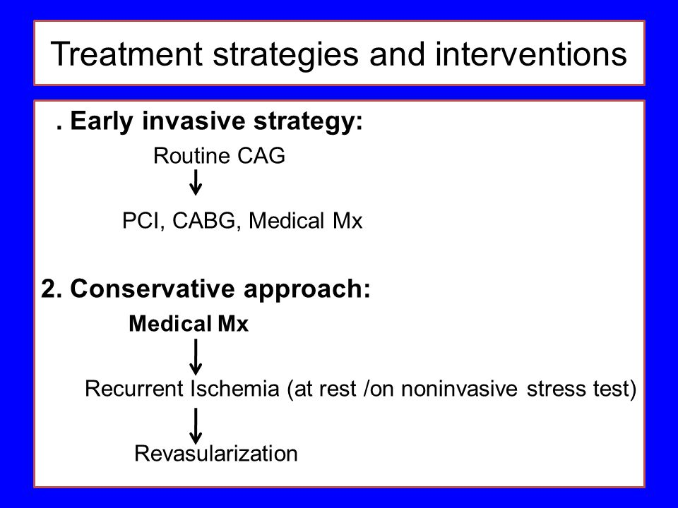 Treatment strategies and interventions