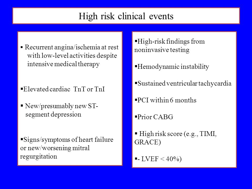 High risk clinical events