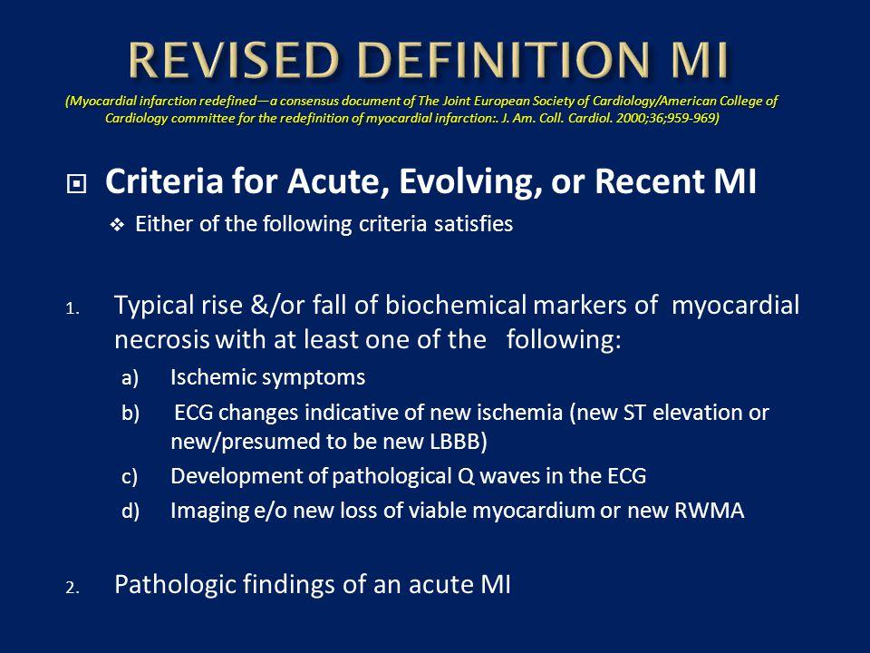REVISED DEFINITION MI Criteria for Acute, Evolving, or Recent MI