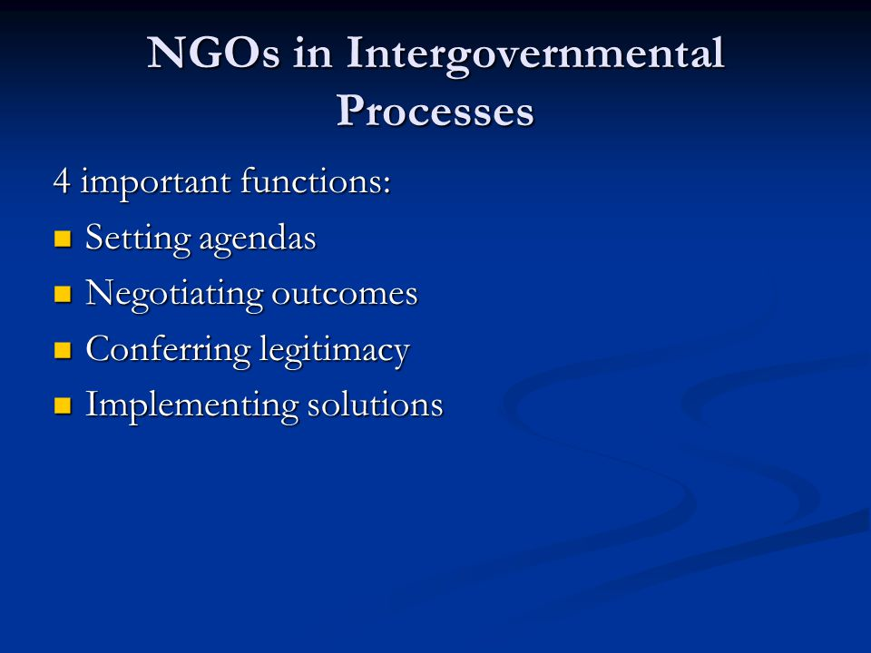 NGOs in Intergovernmental Processes